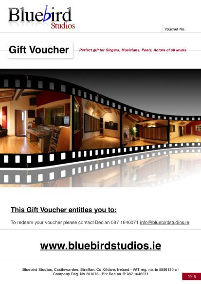 Bluebird Studios Gift Voucher